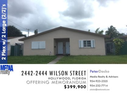 Price Reduced | Hollywood 2Plex with 2 large (2/2) Apts