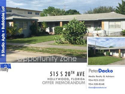 8 Units | $92,250/unit | Opportunity Zone | Value Add | East Hollywood | Repriced Asset | 515 S 20 Ave with Additional Lot