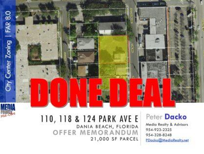 Dania Beach Development Opportunity | City Center Zoning | 21,000 SF | 110-124 Park Ave E | $54/SF | Done Deal