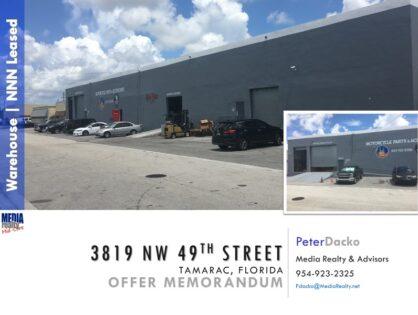 In Escrow | Distribution Warehouse | Tamarac | 15,840 SF | NNN | 3819 NW 49th St | PENDING SALE