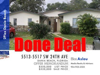 Done Deal | Dania Beach  | 2Plex | $520,000 | 5513-5517 SW 24th Ave
