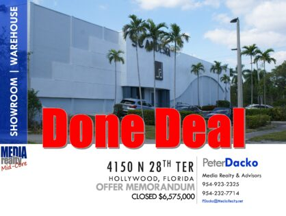 Showroom/Office /Warehouse   Exceptional I-95 Exposure   Hollywood   Net Leasable 32.7K SF   4150 N 28 Ter   Done Deal $6,575,000