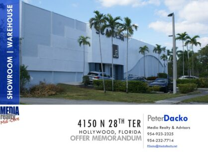 Showroom/Office /Warehouse | Exceptional I-95 Exposure | Hollywood | Net Leasable 32.7K SF | 4150 N 28 Ter | PENDING SALE